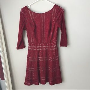 As you wish red and nude lace dress